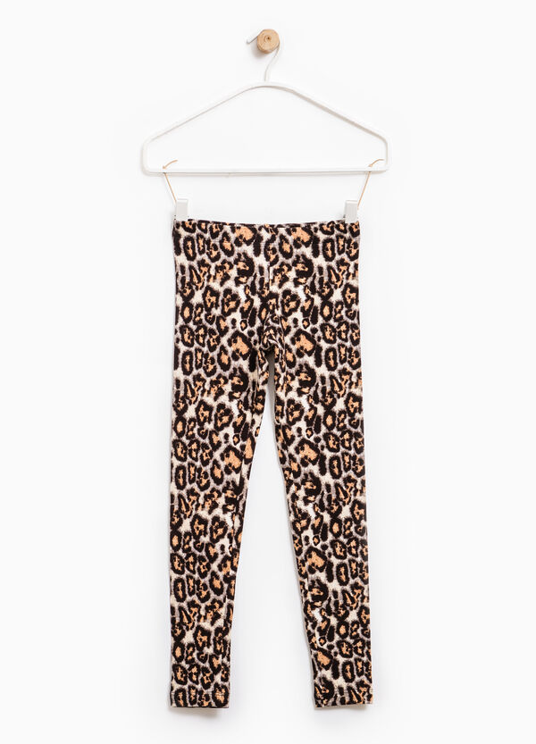 Stretch cotton leggings with animal print | OVS