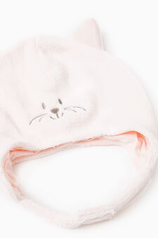 Embroidered cotton beanie cap, Pink, hi-res