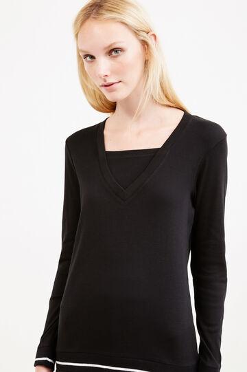 Faux layered 100% cotton T-shirt, Black/White, hi-res