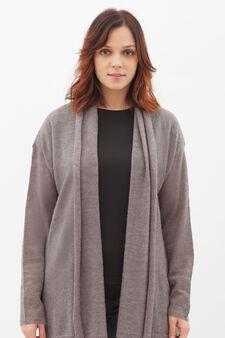 Curvy wool blend cardigan, Grey Marl, hi-res