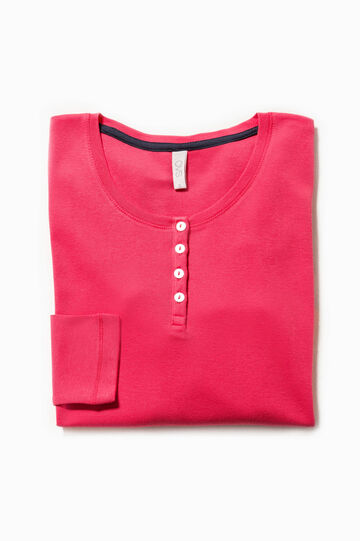 Solid colour pyjama top in 100% cotton, Cherry Red, hi-res
