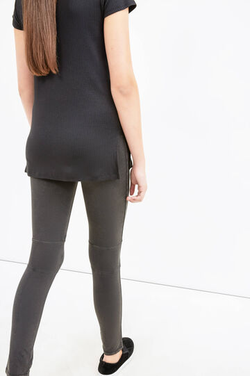 Solid colour stretch cotton leggings, Black, hi-res