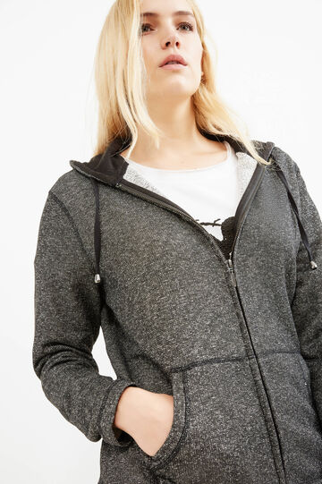Curvy sweatshirt in cotton and lurex, Black, hi-res