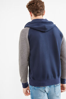 Cotton hoodie with patch, Navy Blue, hi-res