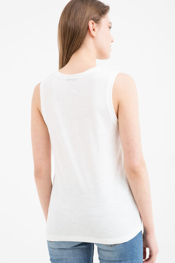 Printed sleeveless T-shirt, Milky White, hi-res