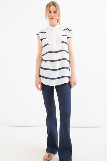 Blouse in 100% viscose with striped pattern, White/Blue, hi-res