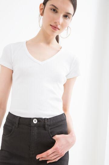 Ribbed cotton blend T-shirt, White, hi-res