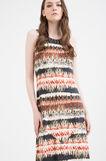 Long printed stretch dress, Cream White, hi-res