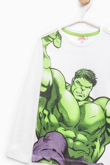 T-shirt in cotone stampa Hulk, Bianco sporco, hi-res