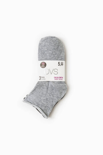 Three-pair pack cotton blend socks, Black/Grey, hi-res