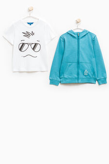 100% cotton T-shirt and sweatshirt set, Turquoise Blue, hi-res