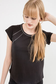 100% cotton T-shirt with rounded hem, Black, hi-res