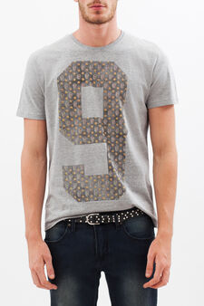 T-shirt con stampa lettering , Grigio chiaro, hi-res
