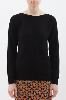 Cashmere and silk blend pullover, Black, hi-res