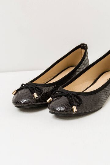 Python skin ballerina flat with round toe, Black, hi-res