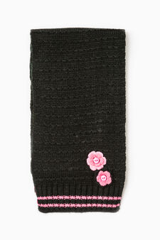 Knitted scarf with flowers, Black, hi-res
