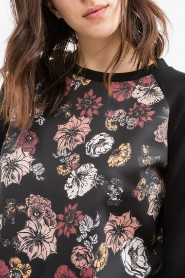 Sweatshirt with maxi floral print, Black, hi-res
