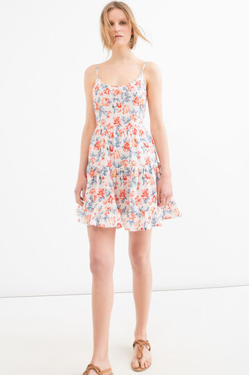 Short dress with floral pattern, White, hi-res