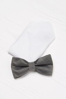 Check bow tie and pocket handkerchief set., Black, hi-res