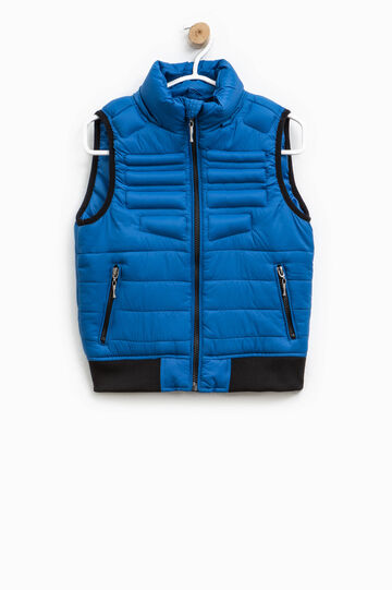 Padded gilet with contrasting edging, Royal Blue, hi-res