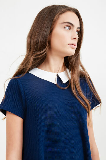 Teen short dress with collar, Blue, hi-res