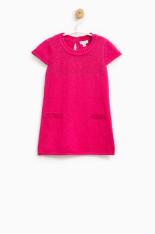 Cotton and wool glitter dress, Fuchsia, hi-res