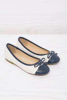Round toe leather-look ballerina flats, White/Blue, hi-res