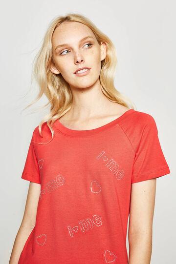 Cotton T-shirt with diamantés