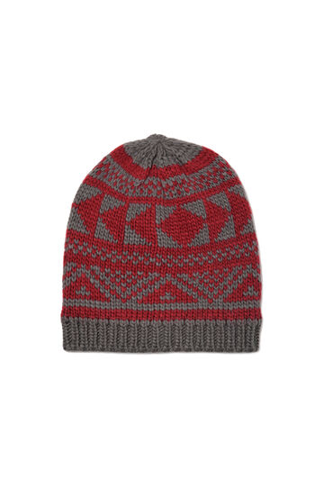 Beanie cap embroidered in contrasting colour, Grey, hi-res