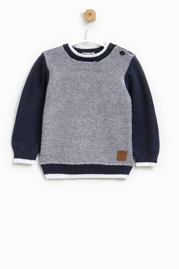 Pullover with contrasting sleeves, White/Blue, hi-res