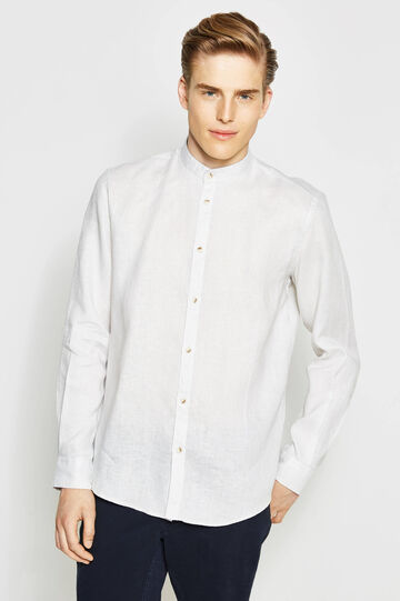 Casual shirt with patterned linen inserts
