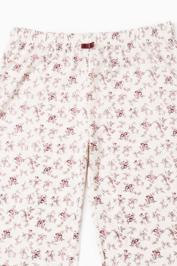 Floral patterned pyjama trousers, Cream, hi-res
