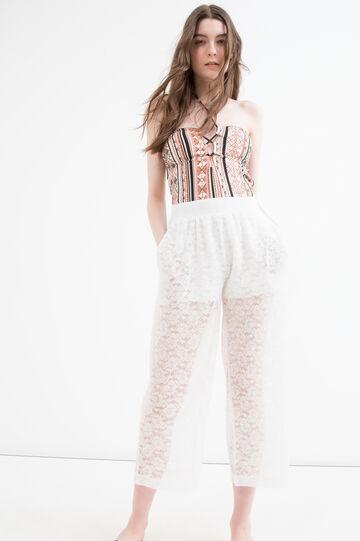 Pantaloni in pizzo vita alta, Bianco, hi-res