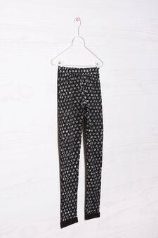 Printed stretch gym pants, Black, hi-res