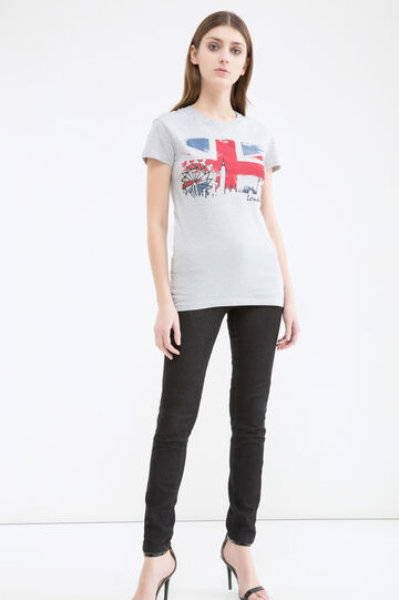 Cotton T-shirt with contrasting colour print, Light Grey Marl, hi-res