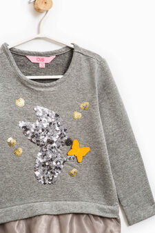 Cotton sweatshirt with sequins and tulle, Dark Grey Marl, hi-res