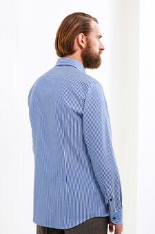 Slim-fit striped formal shirt, White/Blue, hi-res