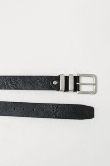 Textured belt with double loop, Black, hi-res