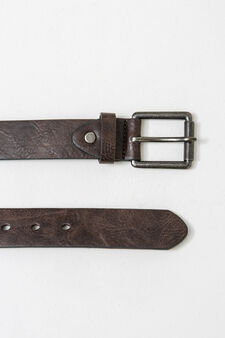 Solid colour belt with square buckle, Brown, hi-res