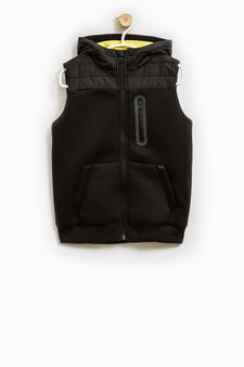 Cotton blend hooded waistcoat, Black, hi-res