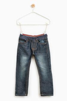 Worn-effect jeans with elasticated waist, Dark Blue, hi-res