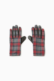 Tartan pattern gloves, Black/Red, hi-res