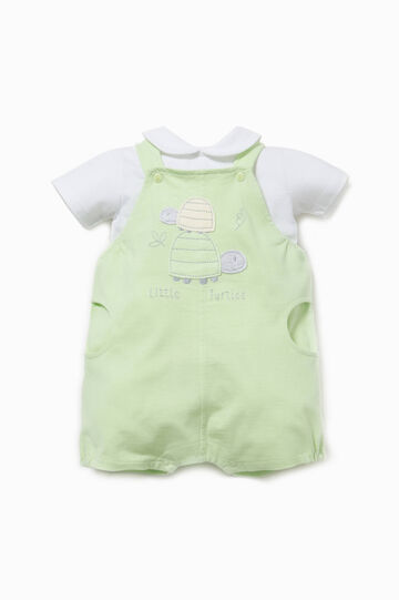 T-shirt and sleeveless onesie outfit, White/Green, hi-res