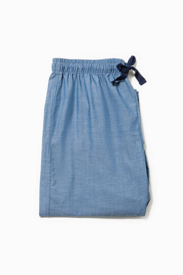 Cotton blend pyjama trousers, Denim Blue, hi-res