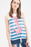 Cotton blend top with bow, Blue, hi-res