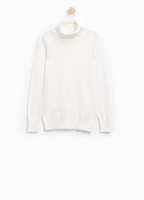 Cotton and viscose pullover with lace | OVS