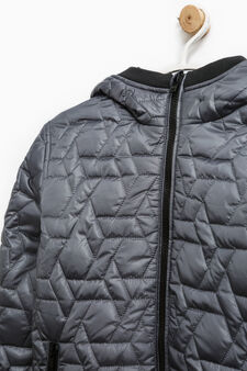 Down jacket with hood and ribbing, Grey, hi-res
