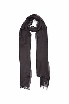 Two-tone scarf in 100% viscose, Black, hi-res