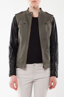 Two-tone jacket with zip, Black/Green, hi-res
