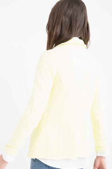 Cotton blend, raw edge blazer, Lemon Yellow, hi-res